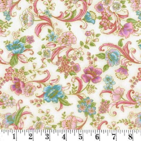 AC246 Grand Majolica - floral on cream with gold metallic