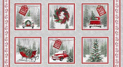 AC368 Holiday Traditions - Red/Grey Panel