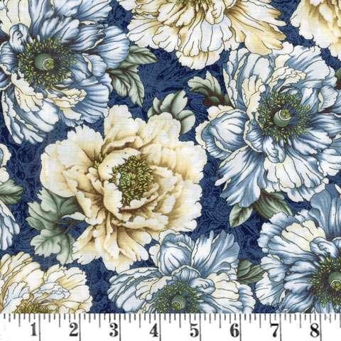 AC371 Flowering Peony - Blue/Cream Flowers