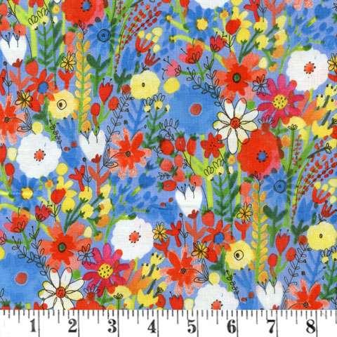 AC568 Flower Pedals - Blue Floral