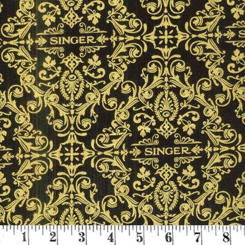 AC570 Sewing with Singer - Black/Gold Singer Damask