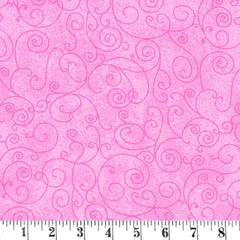 AC586 Extra Wide Backer - Pink Scroll - Flannel preview