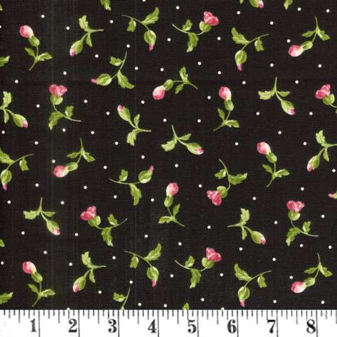 AC668 Poppies - Black Buds Toss
