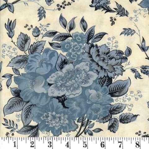 AC711 Blue Barn Prints - Bouquet on Cream
