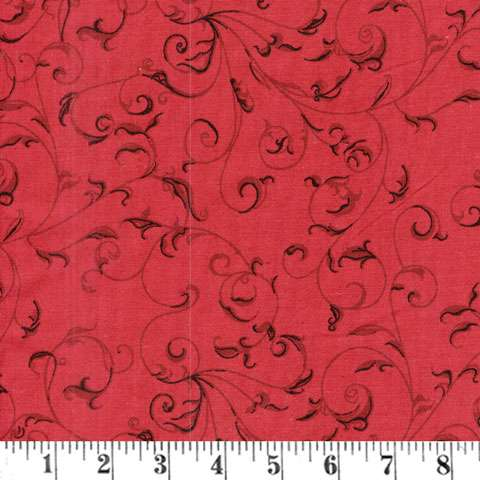 AC811 Extra Wide Backing - Scroll Red (280cm wide)