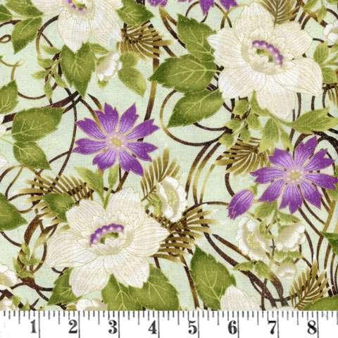 AD058 Ribbon Floral - Mint/Metallic