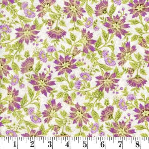 AD062 Ribbon Floral - Plum/Metallic Small Floral