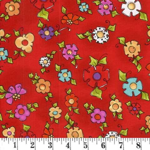 AD089 Dog Happy - Red Blooms
