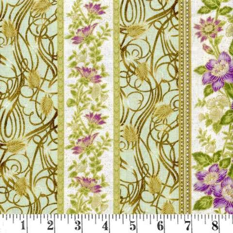 AD096 Floral Ribbon - Mint Strip/Metallic