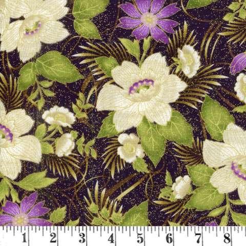 AD097 Floral Ribbon - Plum Metallic