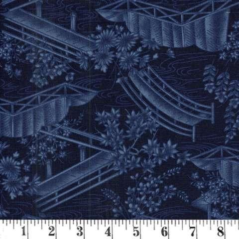 AD098 Japanese Garden - Indigo Toile