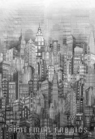 AD154 Skylines by Hoffman - digital print (black and white)