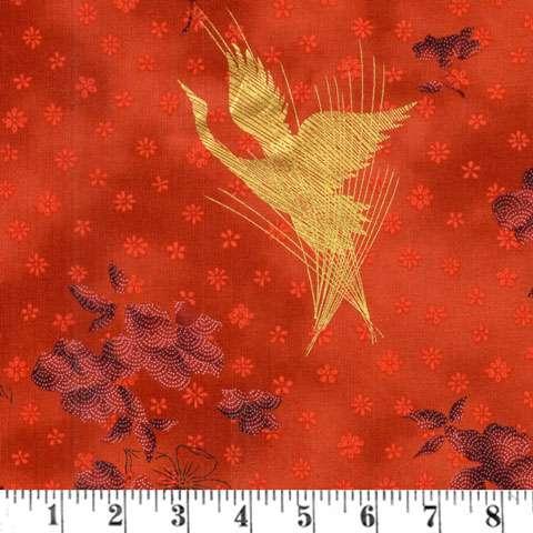 AD158 Zen Garden - Herons - Garnet/Gold