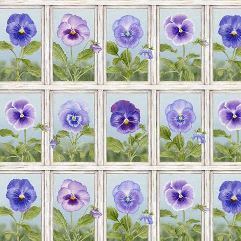 AD263 Pretty as a Pansy - Squares - Panel Repeat