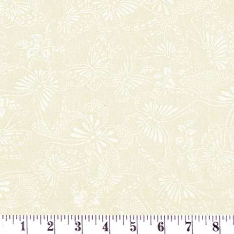 AD392 Extra Wide Backing - Cream Butterflies