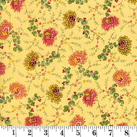 AD447 Bally Hall - Delicate Floral Mustard