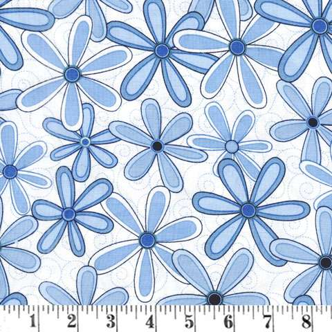 AD496 Extra Wide Backing - Blue Daisy