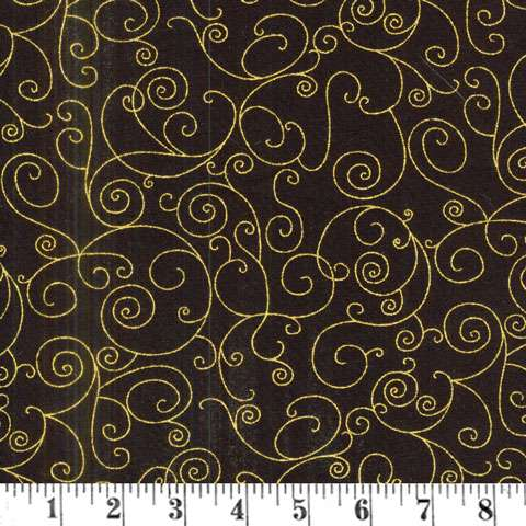 AD748 Extra Wide Backing  - Willow Black/Gold