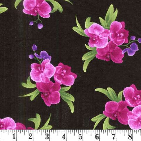 AD816 Wild Orchid - Black Flowers