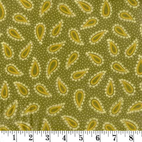 AD885 Winter Cheer - Flannel - green paisley
