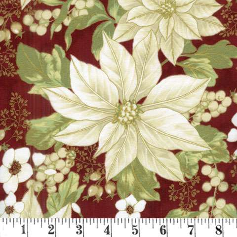 AD888 Winter Blossom - Poinsettia - cream on scarlet gold