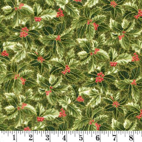 AD889 Winter Blossom - Holly cluster - green/gold