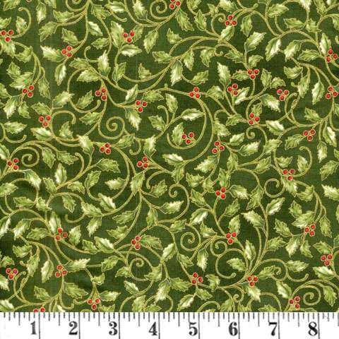 AD891 Winter Blossom - Holly - green/gold