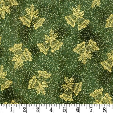 AD895 Winter Blossom - Christmas Bells - green/gold