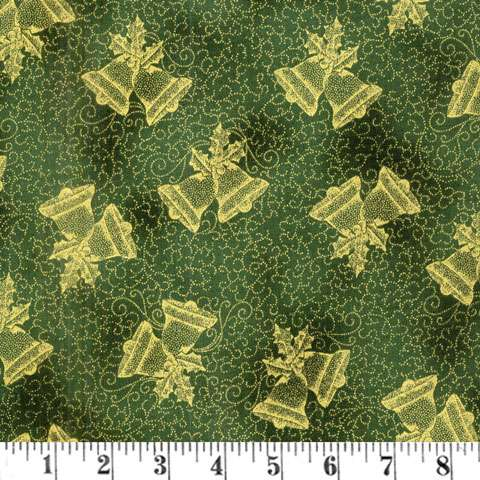 AD895 Winter Blossom - Christmas Bells - green/gold