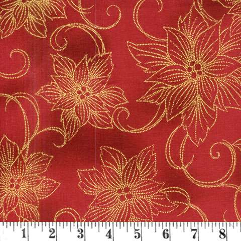 AD896 Winter Blossom - Poinsettia - scarlet/gold