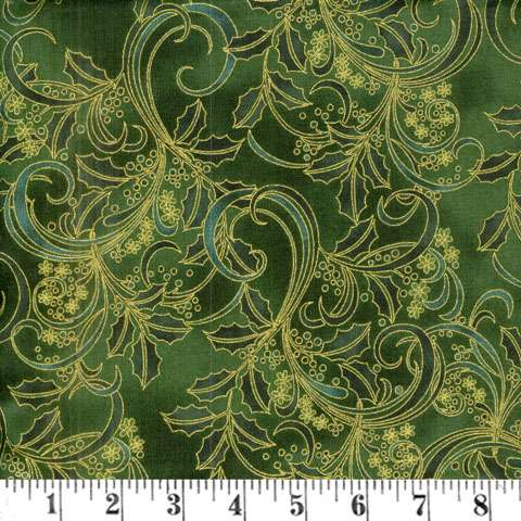 AD897 Winter Blossom - green/gold