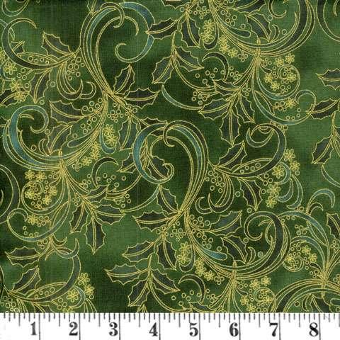 AD897 Winter Blossom - green/gold