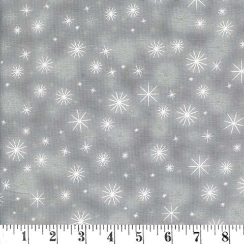 AD907 Winter's Grandeur - snowflakes - grey