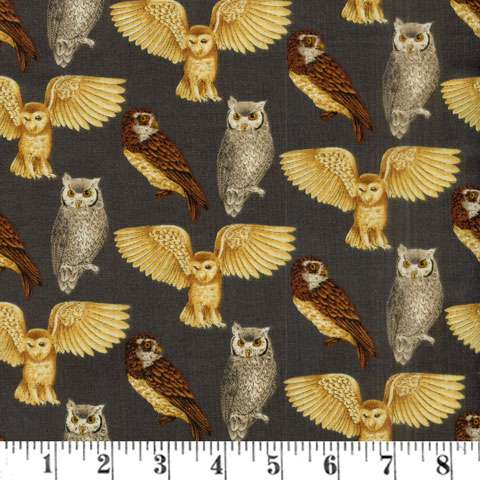 AD978 Majestic Woods Majestic Woods - Owls Grey Background