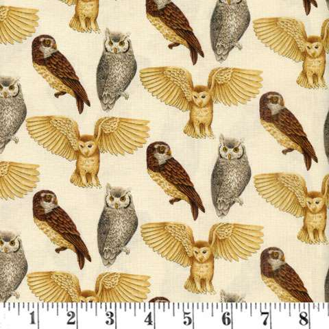 AD979 Majestic Woods - Owls Cream Background