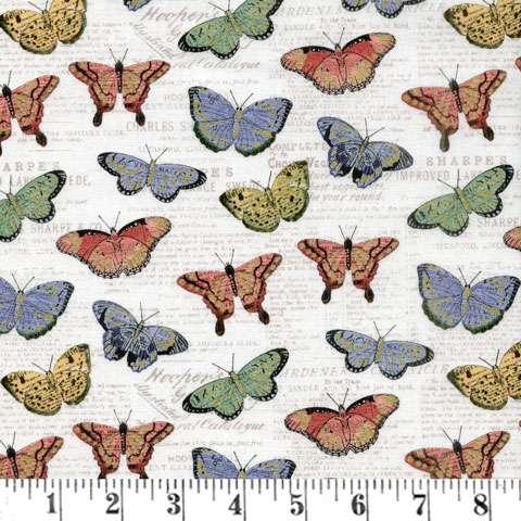 AD986 Bookshelf Botanical - Butteflies Metallic Overlay