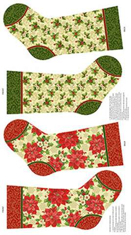AE064 Tis The Season - Christmas Stockings Panel with gold overlay