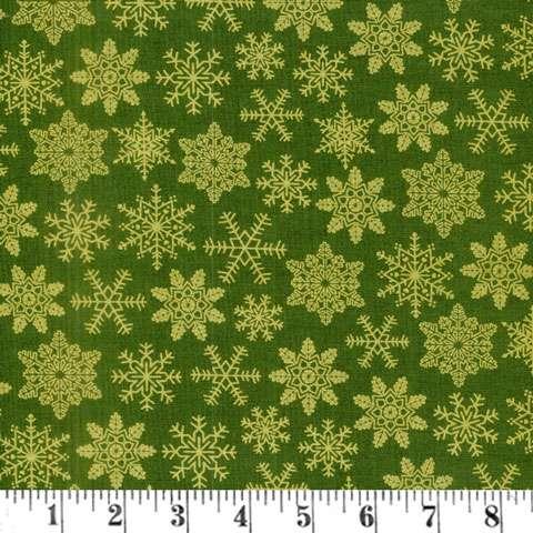 AE066 Tis The Season - Gold Snow Flakes on Green