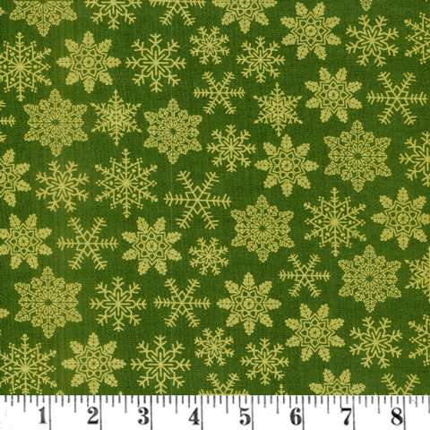 AE066 Tis The Season - Gold Snow Flakes on Green