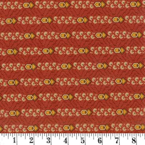 AE098 Timeless - Floral Stripe - Rust