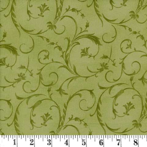 AE164 Extra Wide Backing - Olive Scroll