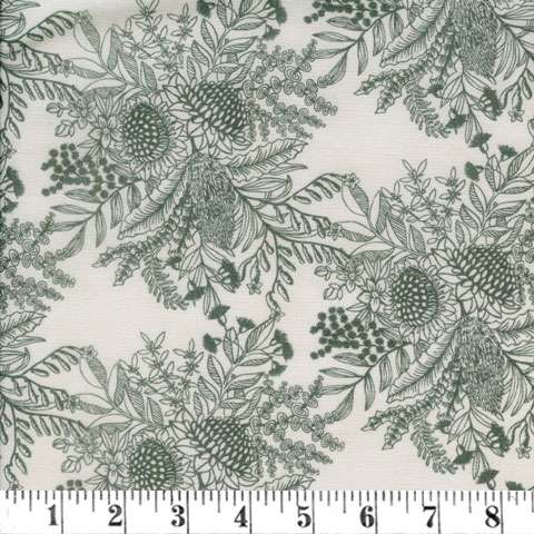 AE185 Extra Wide Backing - Pale Green on Light Cream