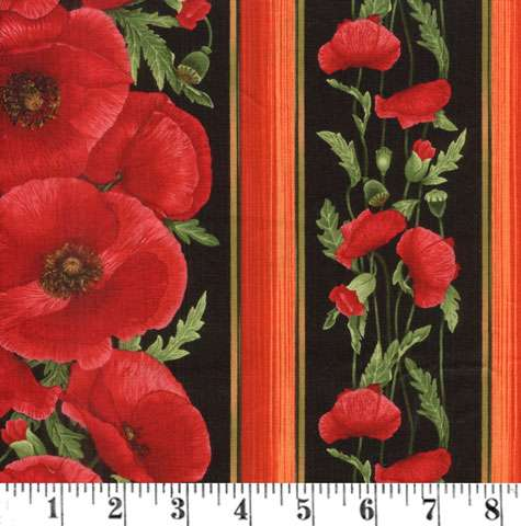 AE201 Tuscan Poppies - Border Stripe