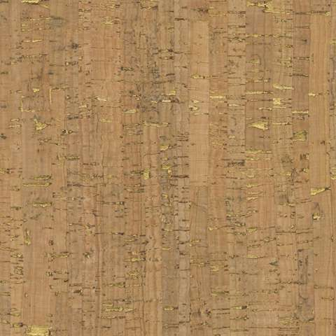 AE205 Natural Real Cork Fabric - with gold metallic