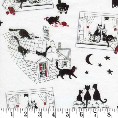 AE231 Cats Night Out - White/Black/Red