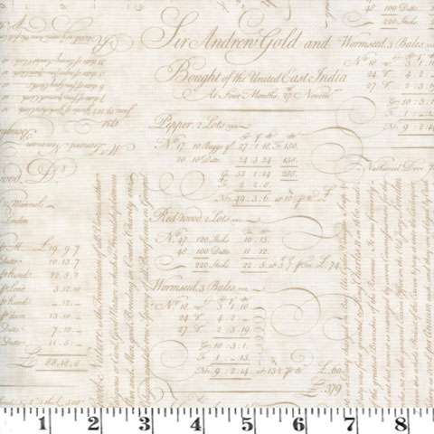 AE250 Quilt - script ledger tonal parchment
