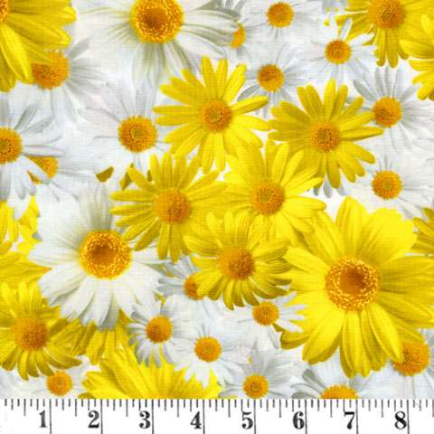 AE393 Oops-A-Daisy - Daisys on White
