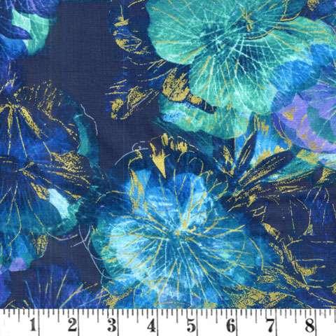 AE440 Floral Impressions - Purple Teal Flowers