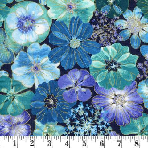 AE441 Floral Impressions - All Over Purple Teal Flowers