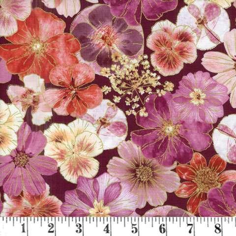 AE447 Floral Impressions - All Over Orange Cerise Dark Background